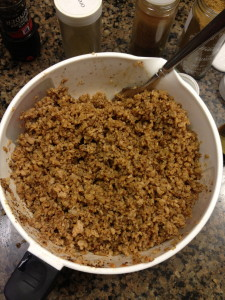 Once mixed and fluffed it takes on the texture and flavor of ground beef!.. Almost.