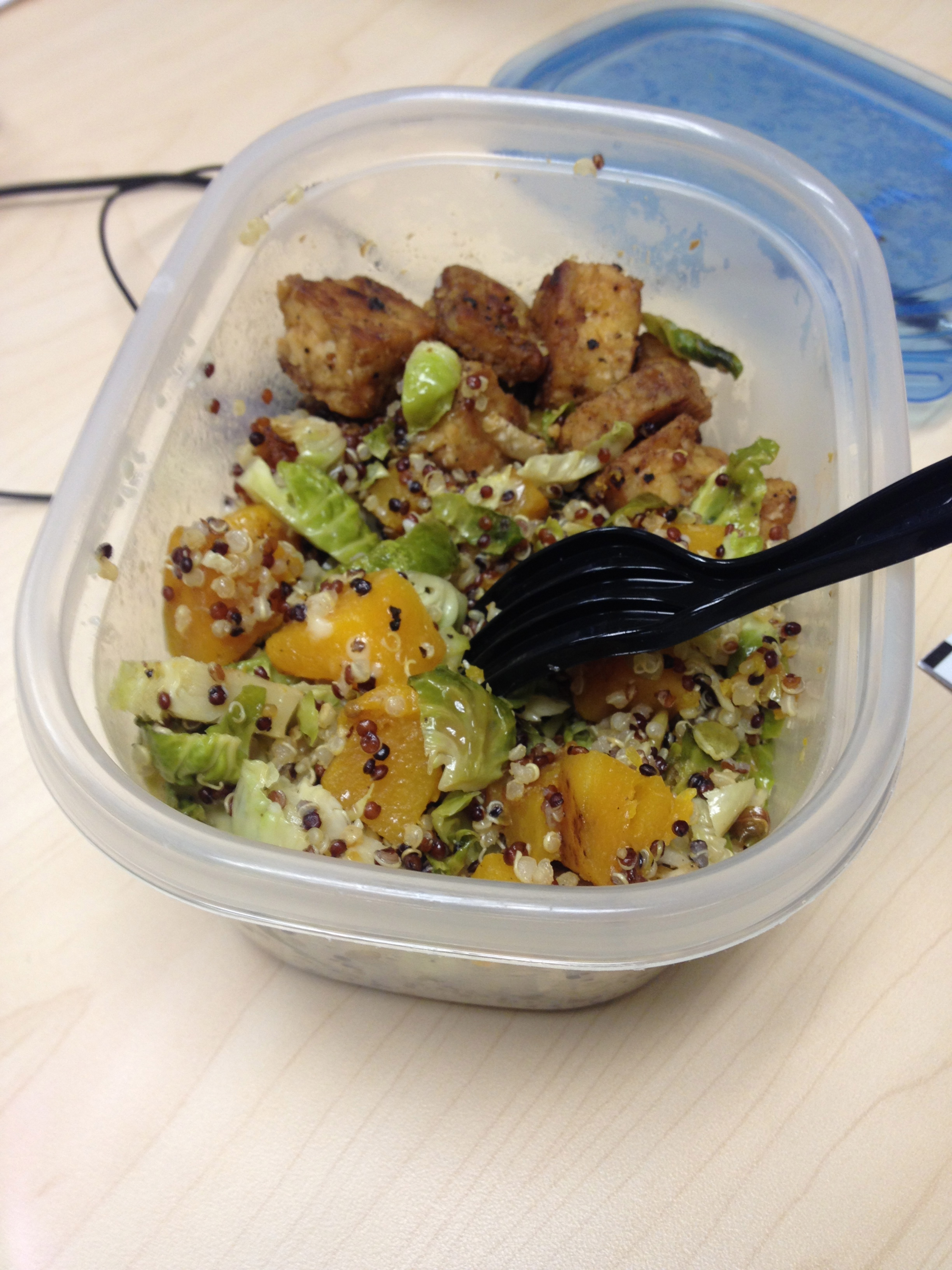 Straight from my lunch box with some tempeh!