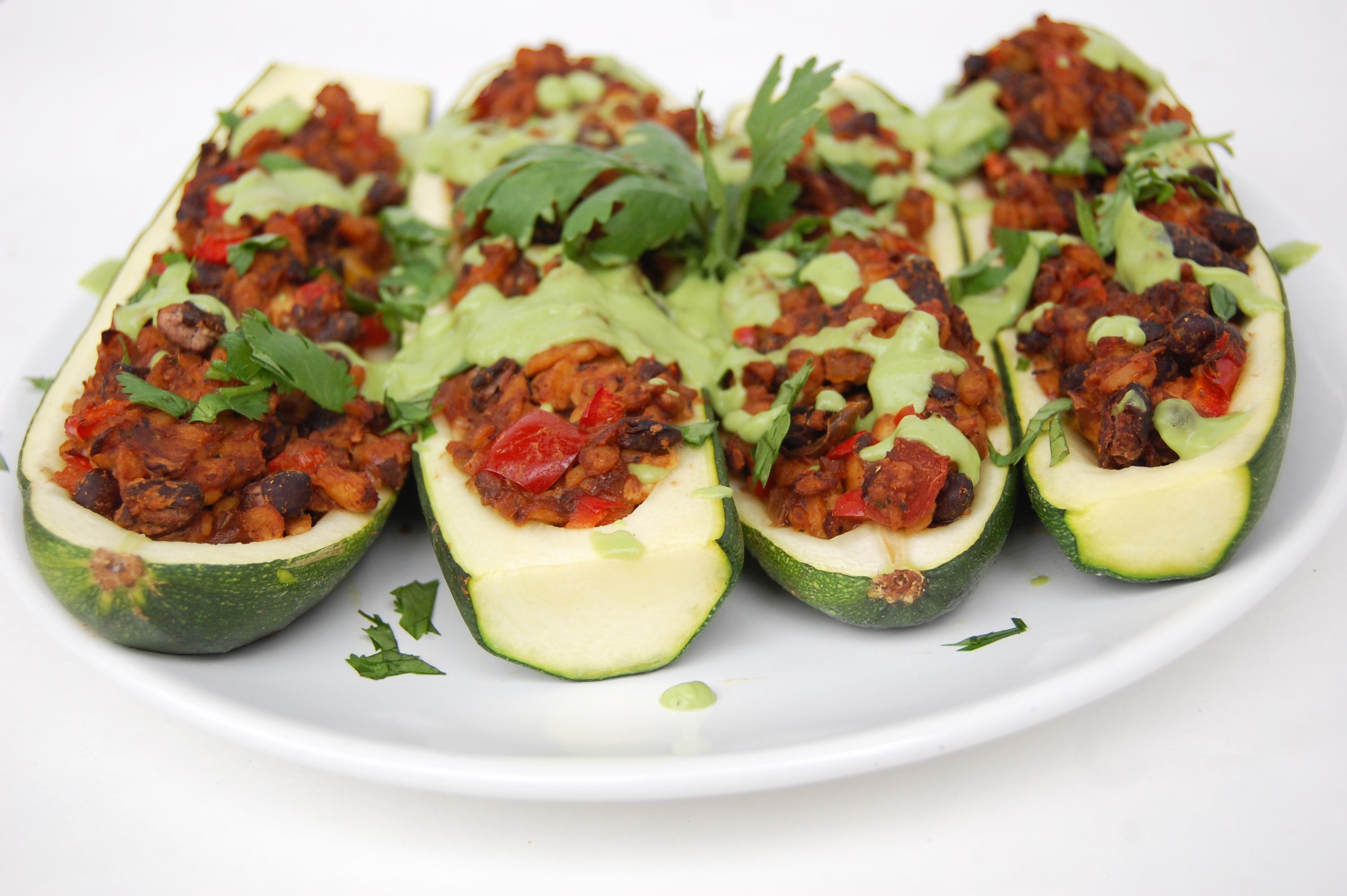 Taco Stuffed Zucchini Boats | AreYouKitchenMe.com