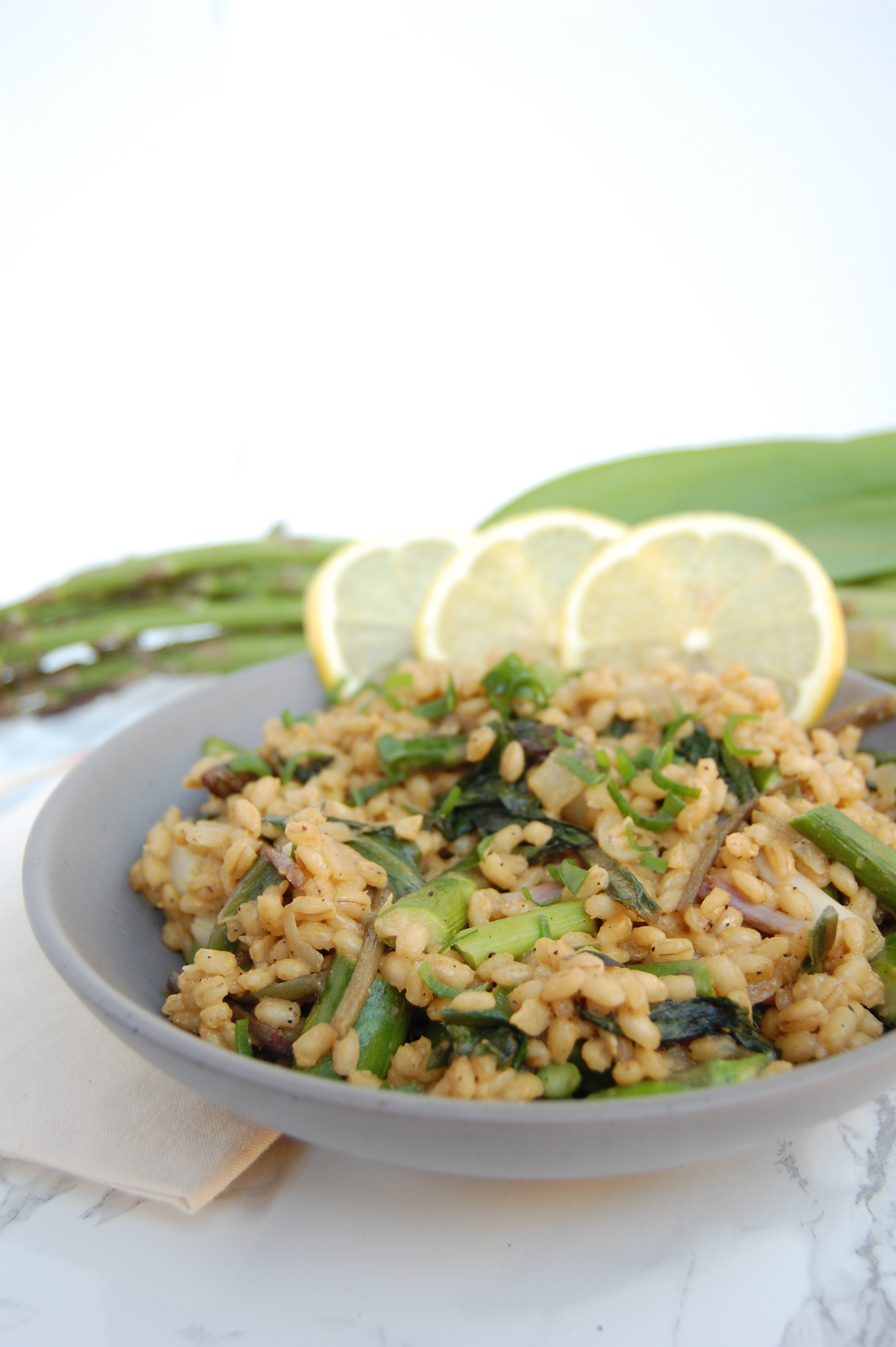 Asparagus and Ramp Barley Risotto | AreYouKitchenMe.com