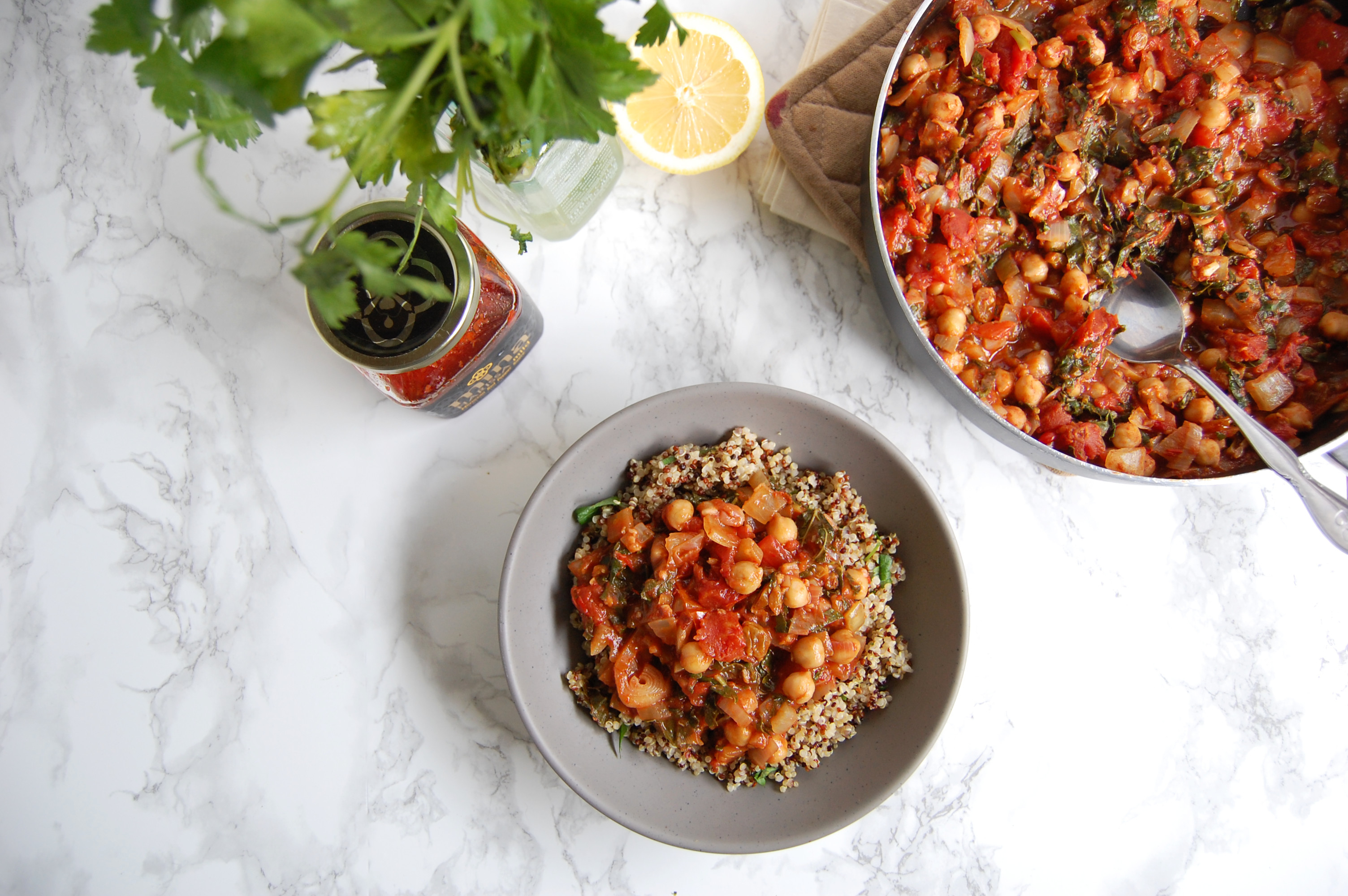 Harissa Spiced Chickpeas | AreYouKitchenMe.com