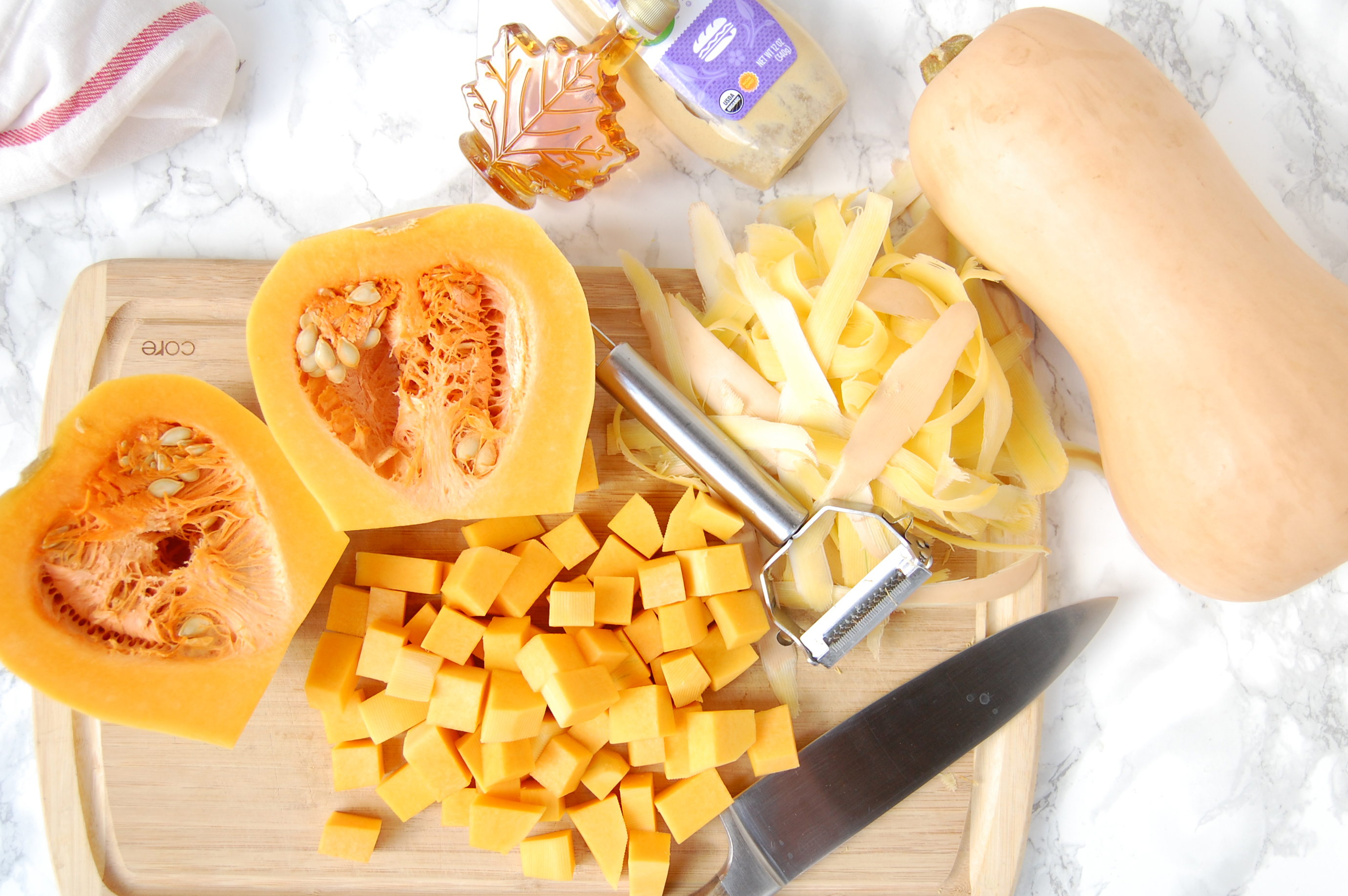 Maple Mustard Roasted Butternut Squash | AreYouKitchenMe.com