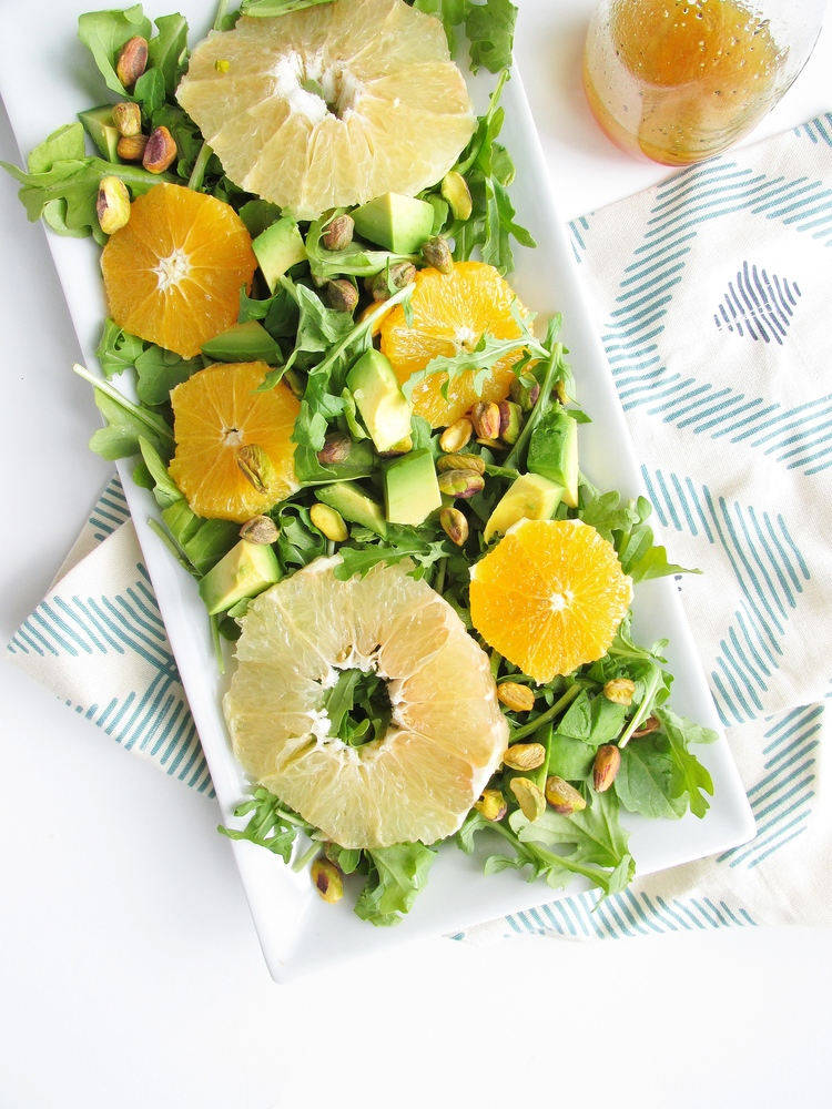 Citrus Arugula Salad with Maple Vinaigrette - Vegan Spring Recipes | AreYouKitchenMe.com