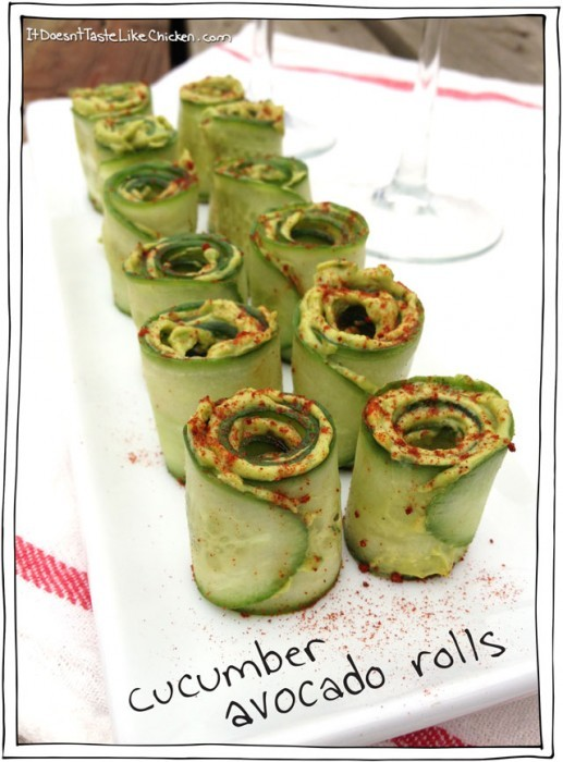 Cucumber Avocado Rolls - Vegan Spring Recipes | AreYouKitchenMe.com