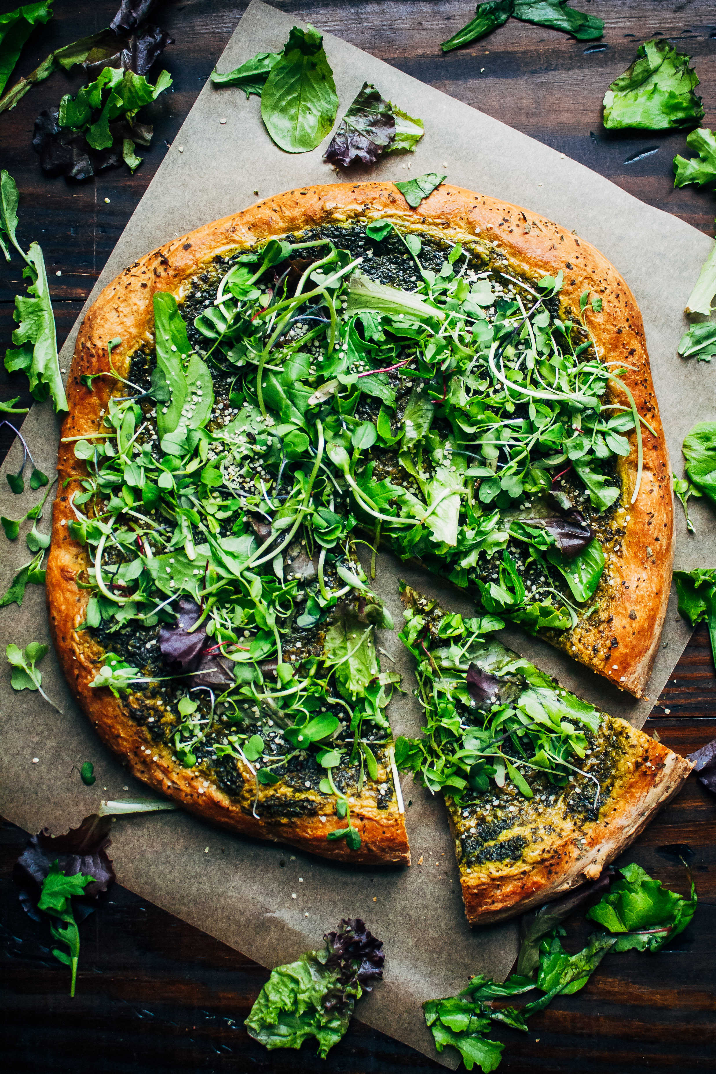Green Goddess Pizza - Vegan Spring Recipes | AreYouKitchenMe.com