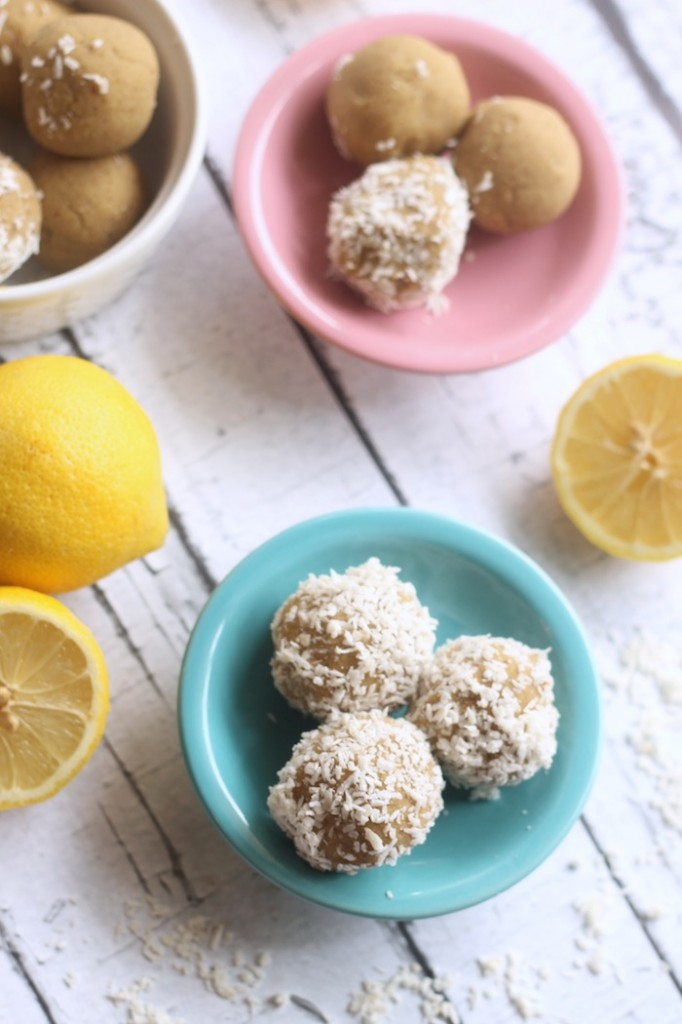 Lemon Coconut No Bake Bites - Vegan Spring Recipes | AreYouKitchenMe.com