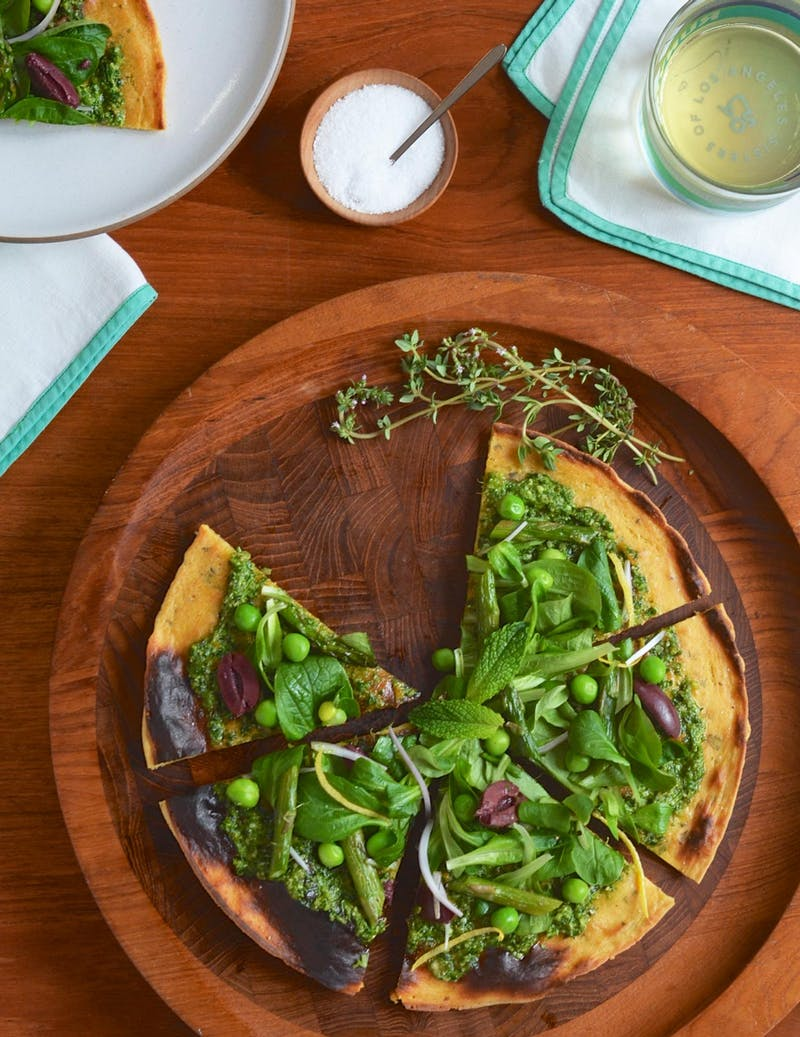 Socca Flatbread with Spring Pesto - Vegan Spring Recipes | AreYouKitchenMe.com