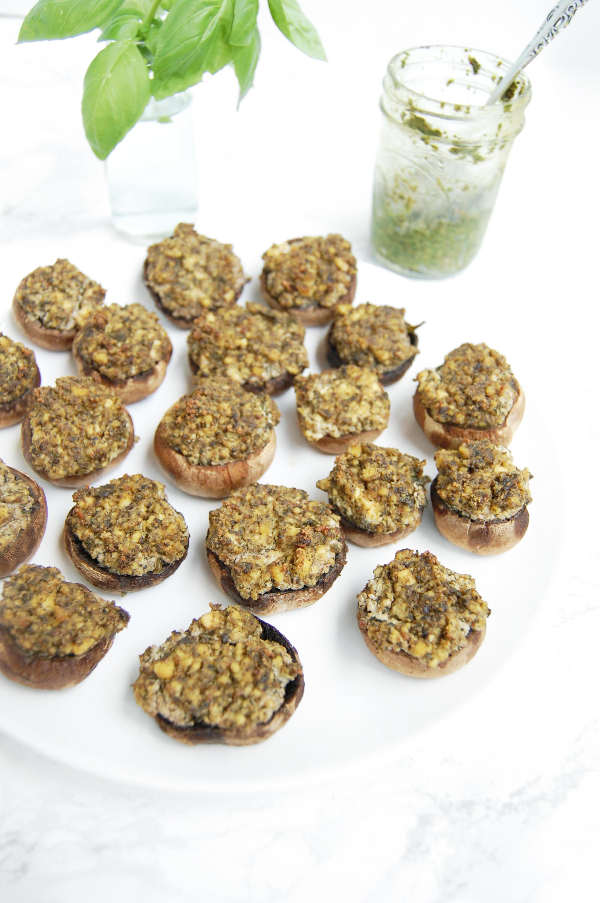 Vegan Ricotto + Pesto Stuffed Mushrooms | AreYouKitchenMe.com