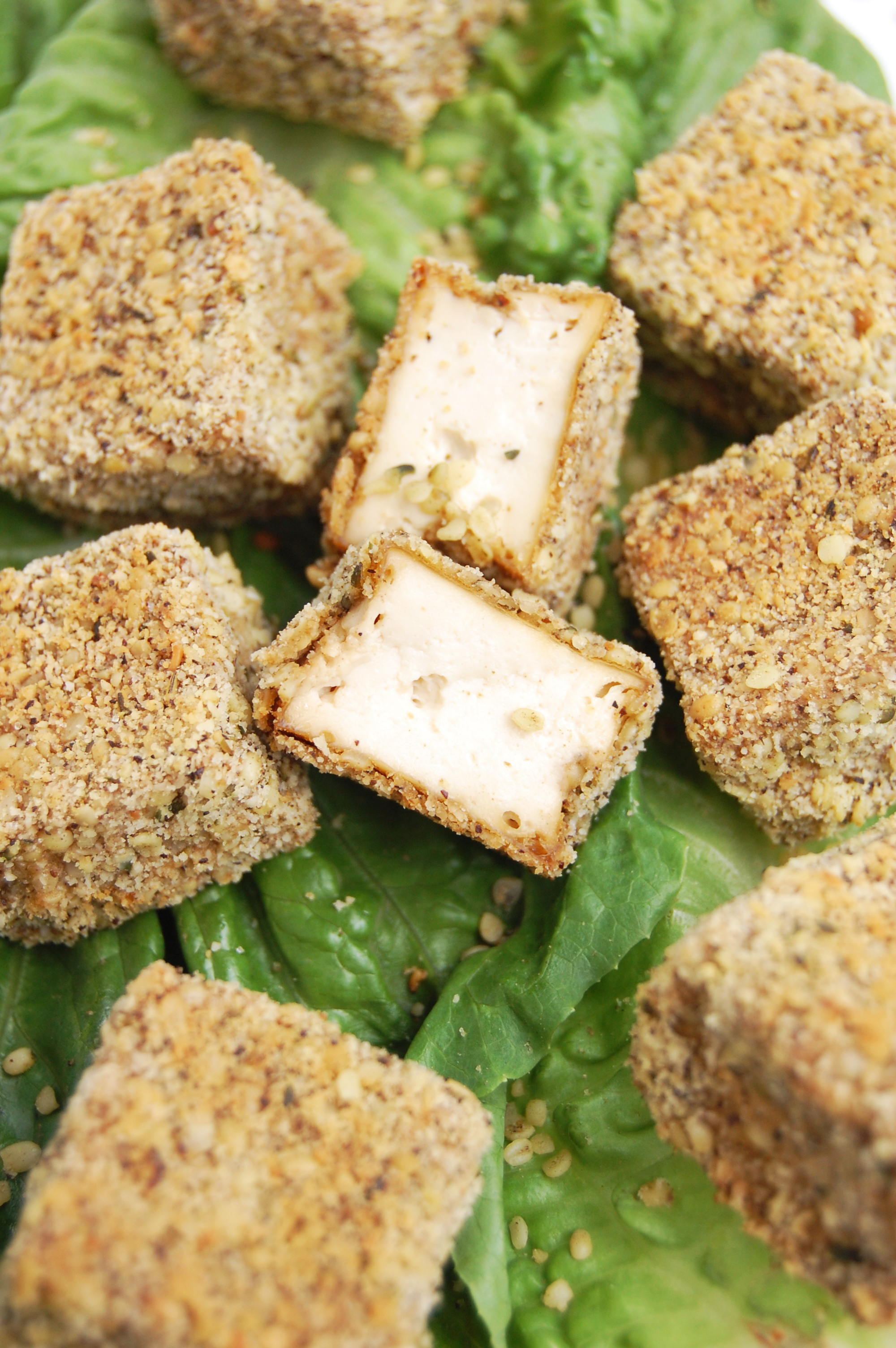 Rosemary Hemp Crusted Tofu Bites | AreYouKitchenMe.com