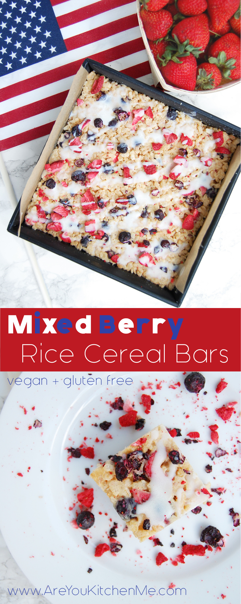 Mixed Berry Rice Cereal Bars   AreYouKitchenMe.com