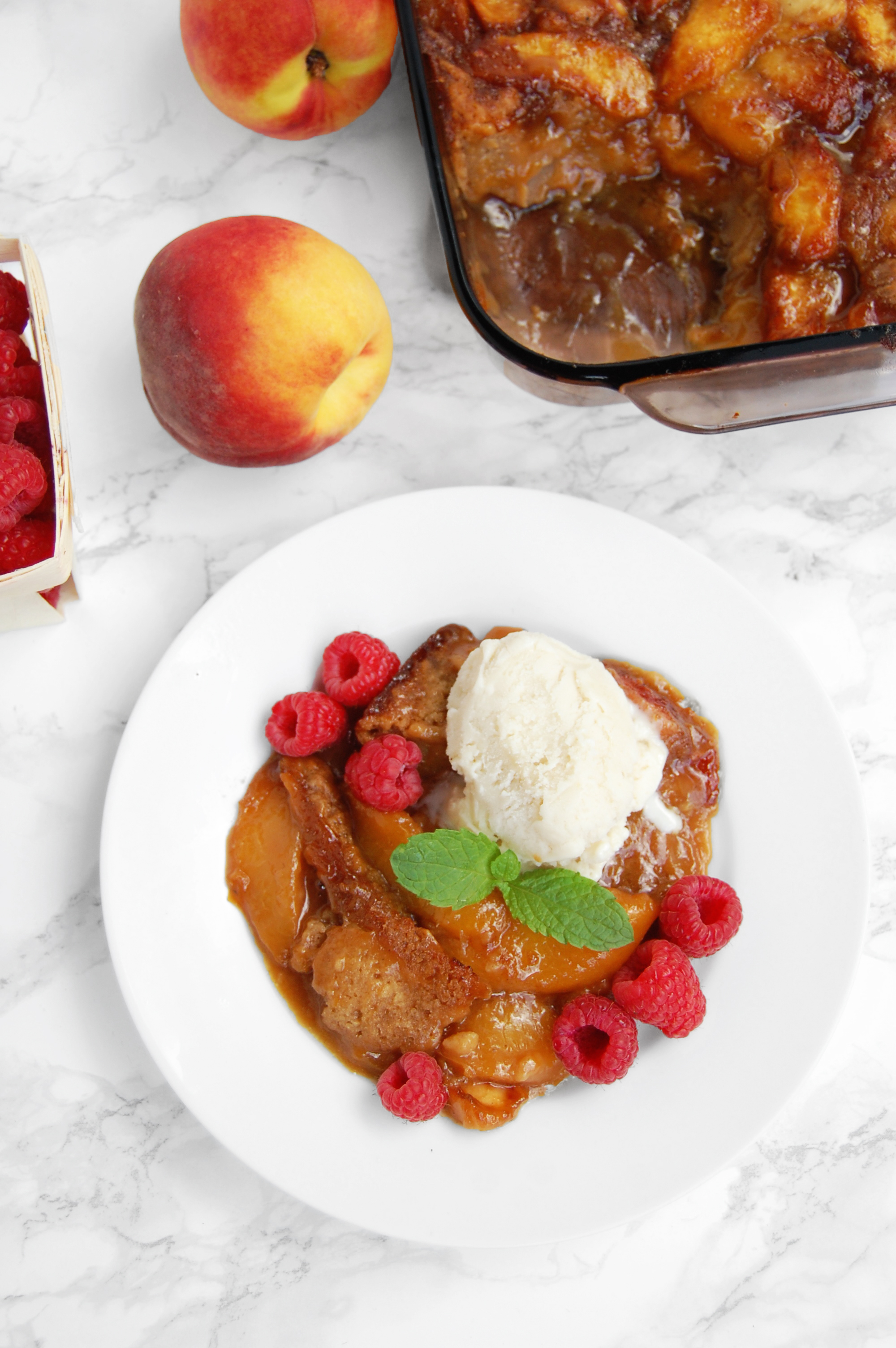 Classic Peach Cobbler (vegan, lower sugar) | AreYouKitchenMe.com
