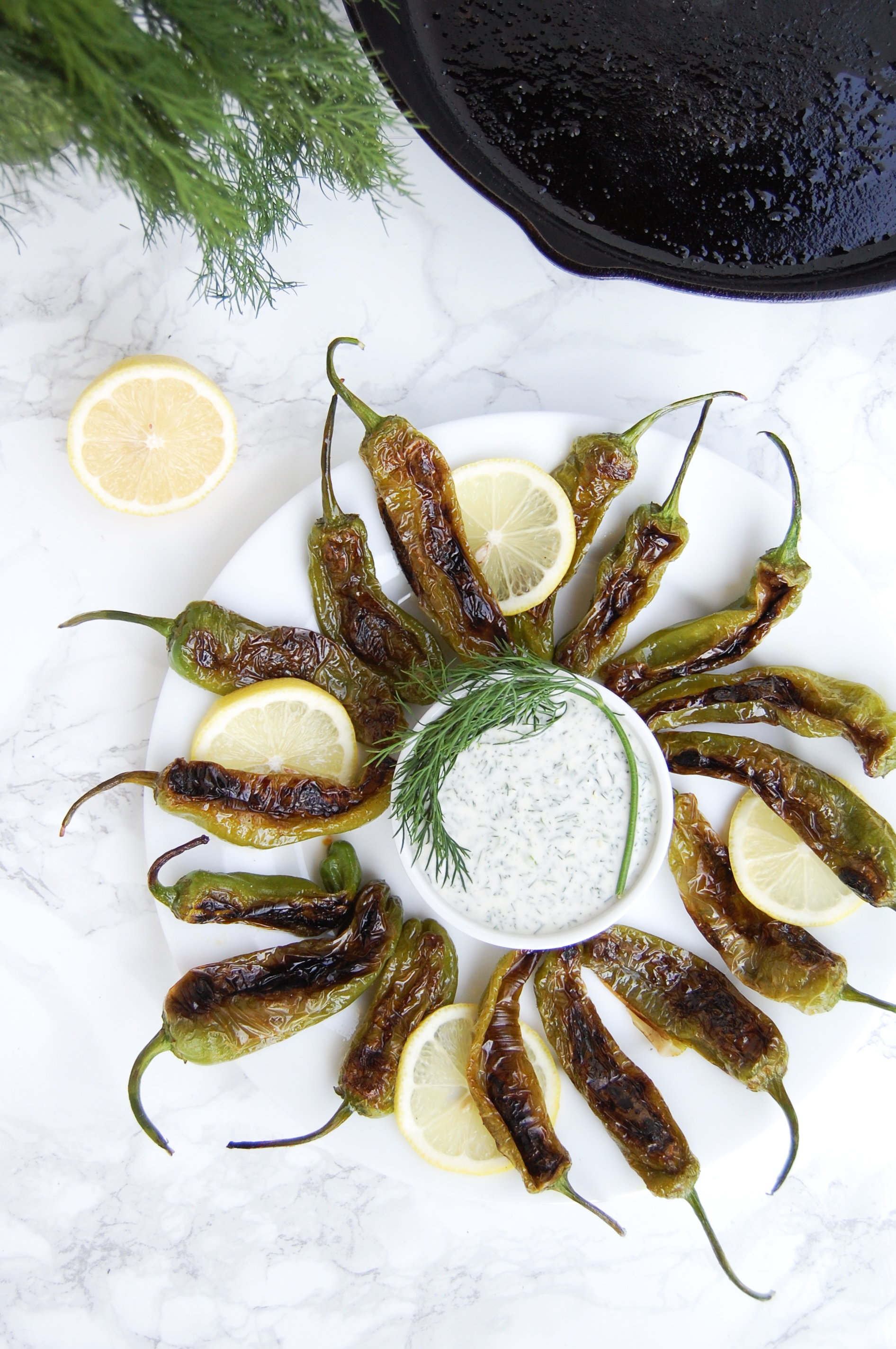Blistered Shishito Peppers with Herb Dipping Sauce   AreYouKitchenMe.com