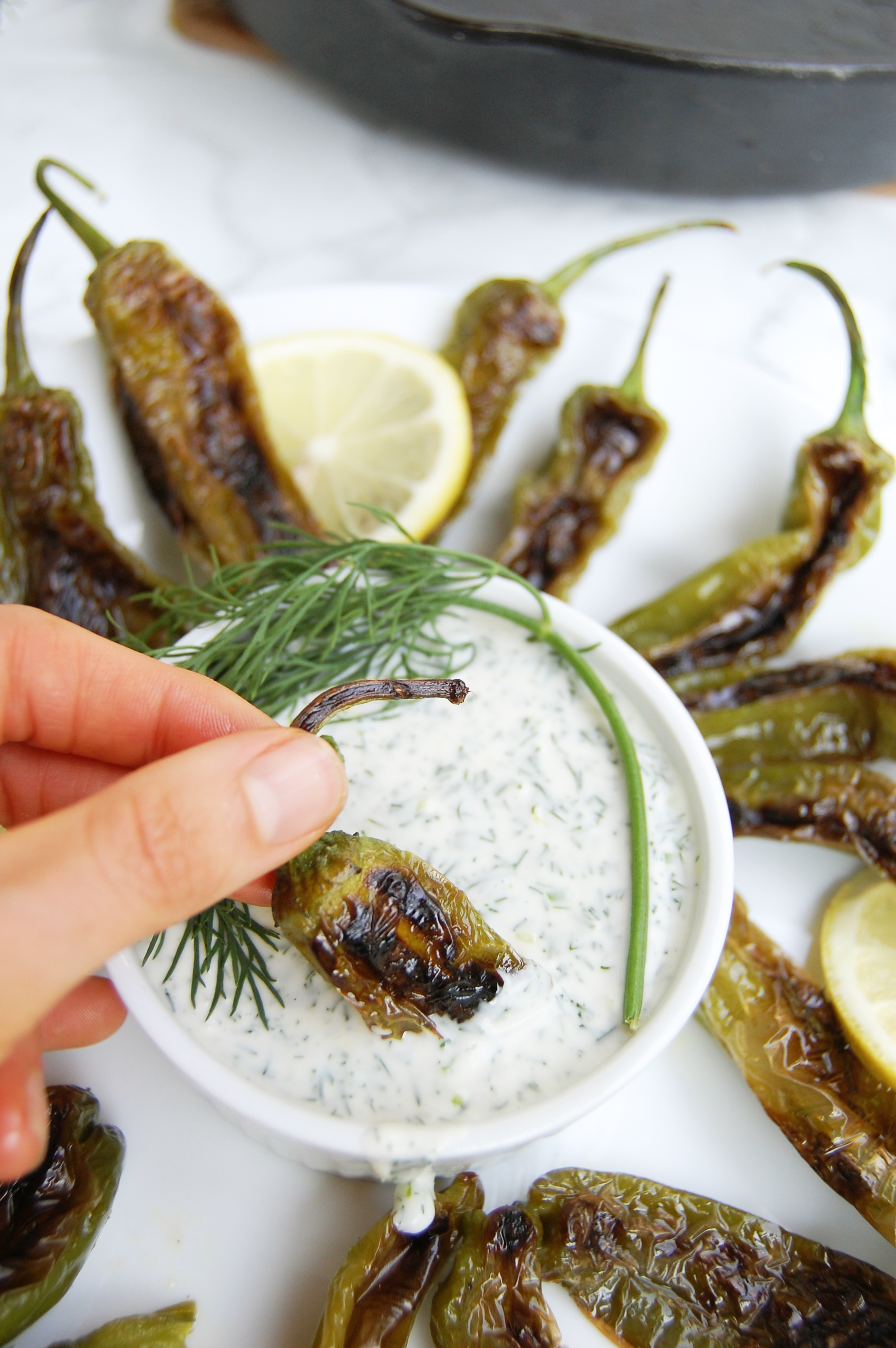 Blistered Shishito Peppers with Herb Dipping Sauce | AreYouKitchenMe.com