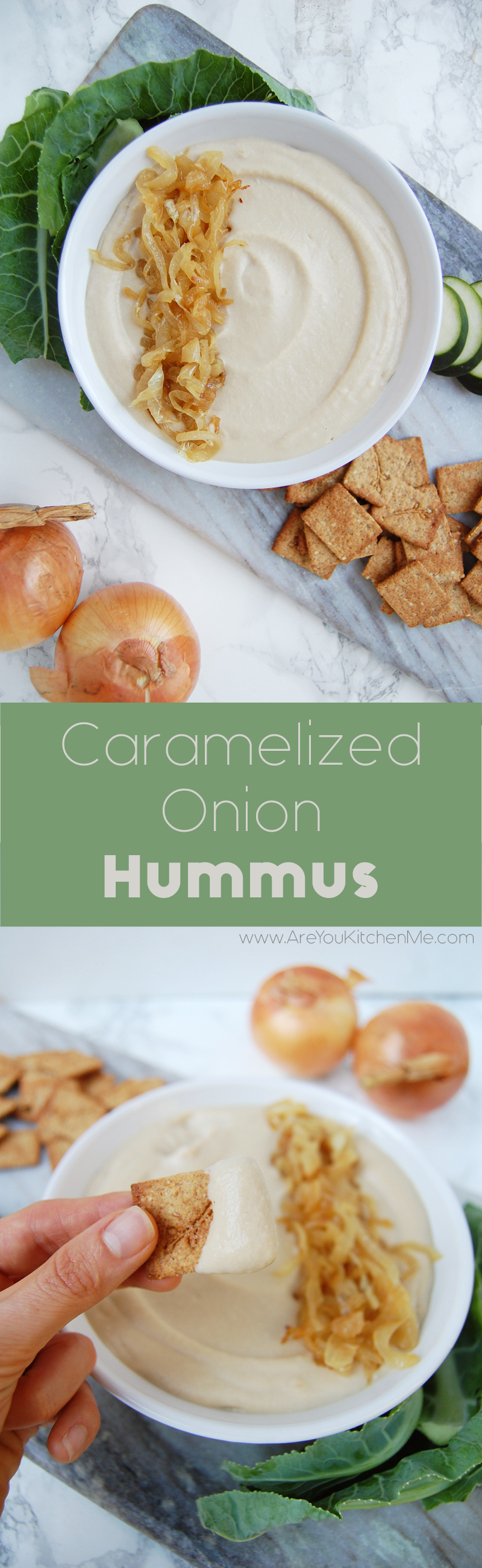 Caramelized Onion Hummus | AreYouKitchenMe.com