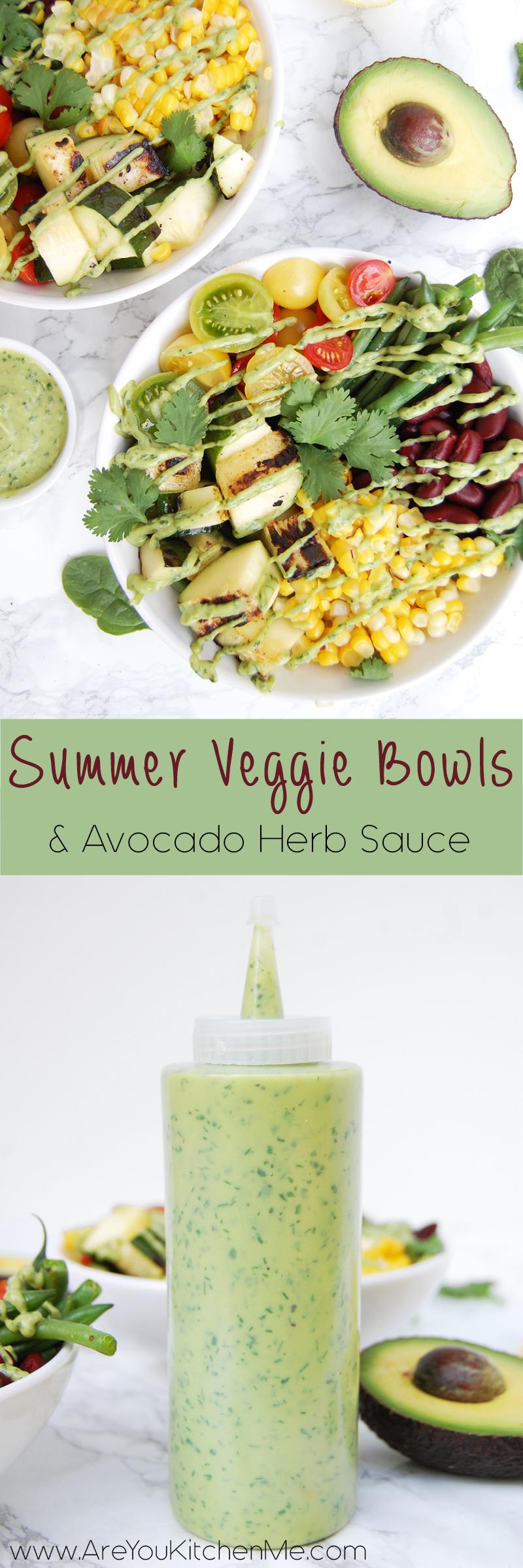 Summer Veggie Bowls w Avocado Cream Sauce | AreYouKitchenMe.com