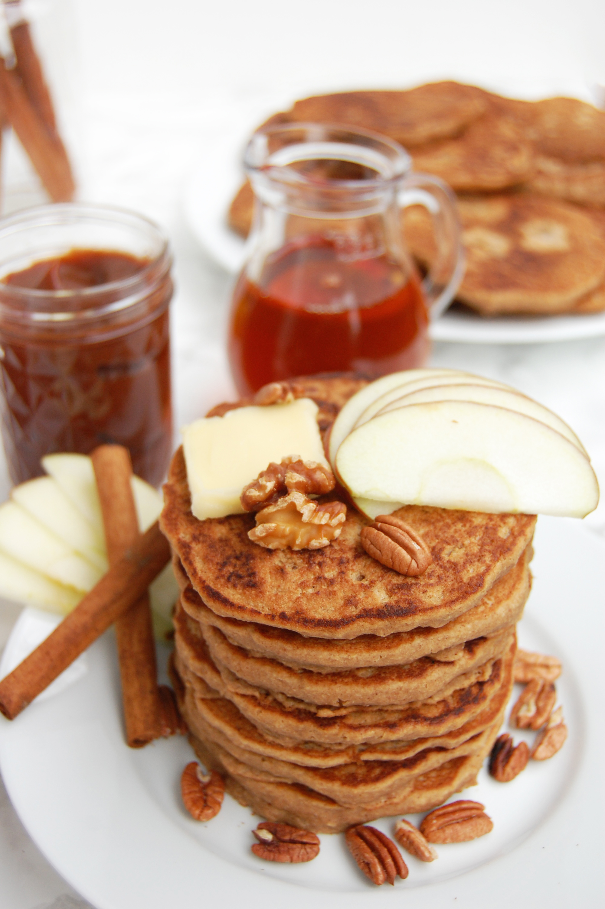 Vegan Apple Butter Pancakes | AreYouKitchenMe.com