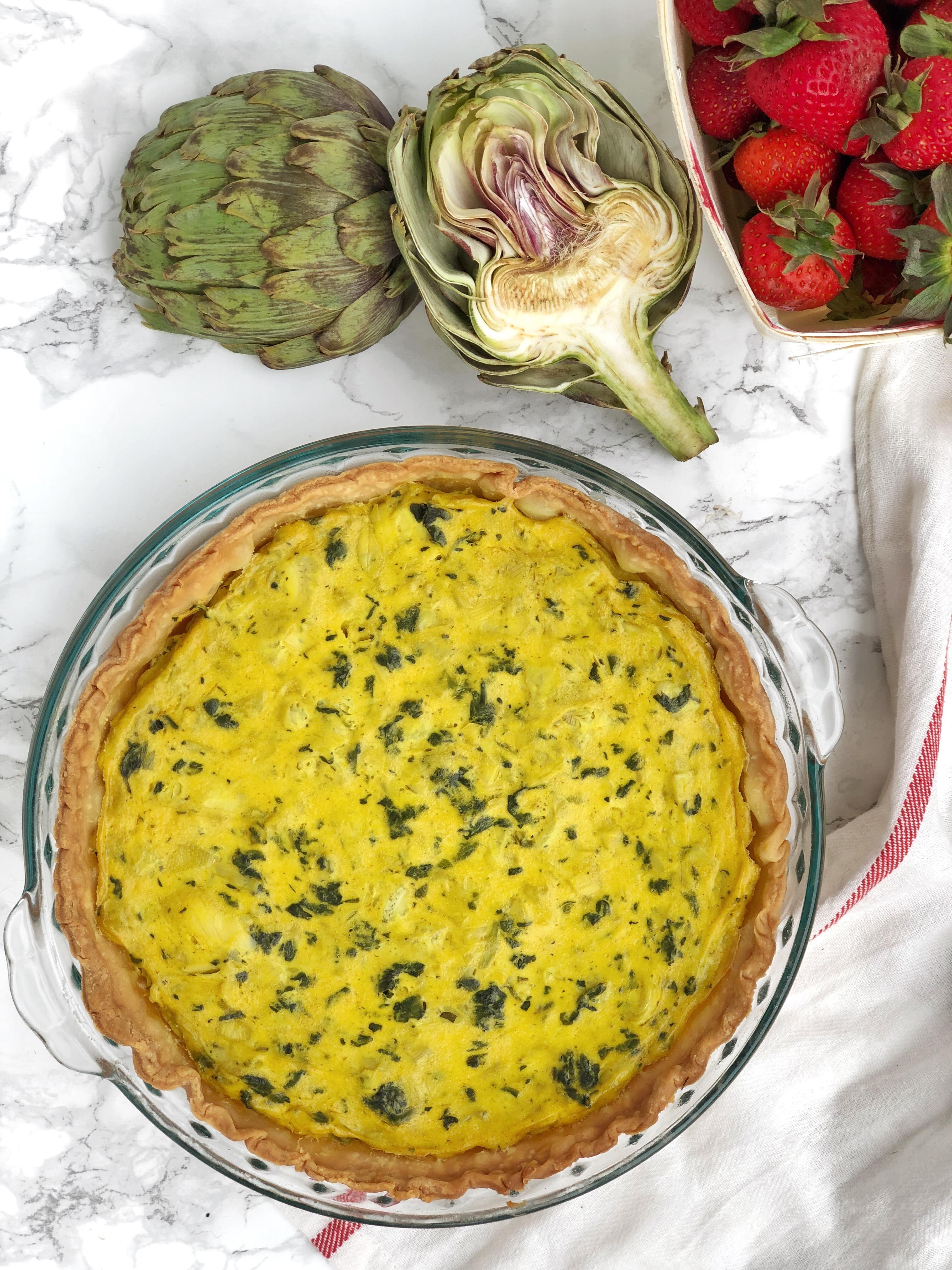 Spinach & Artichoke Vegan Quiche | AreYouKitchenMe.com