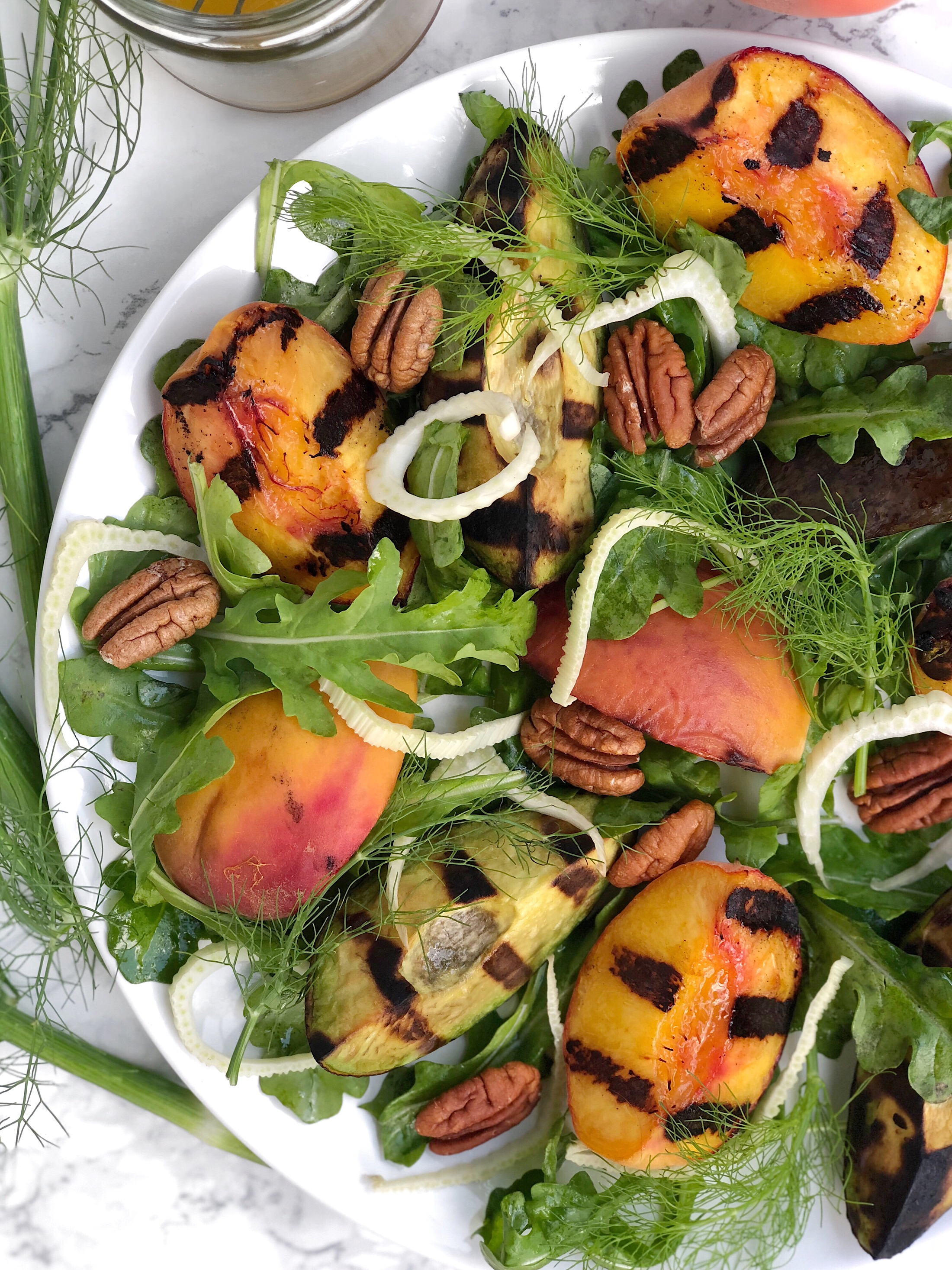 Grilled Peach + Arugula Salad | AreYouKitchenMe.com