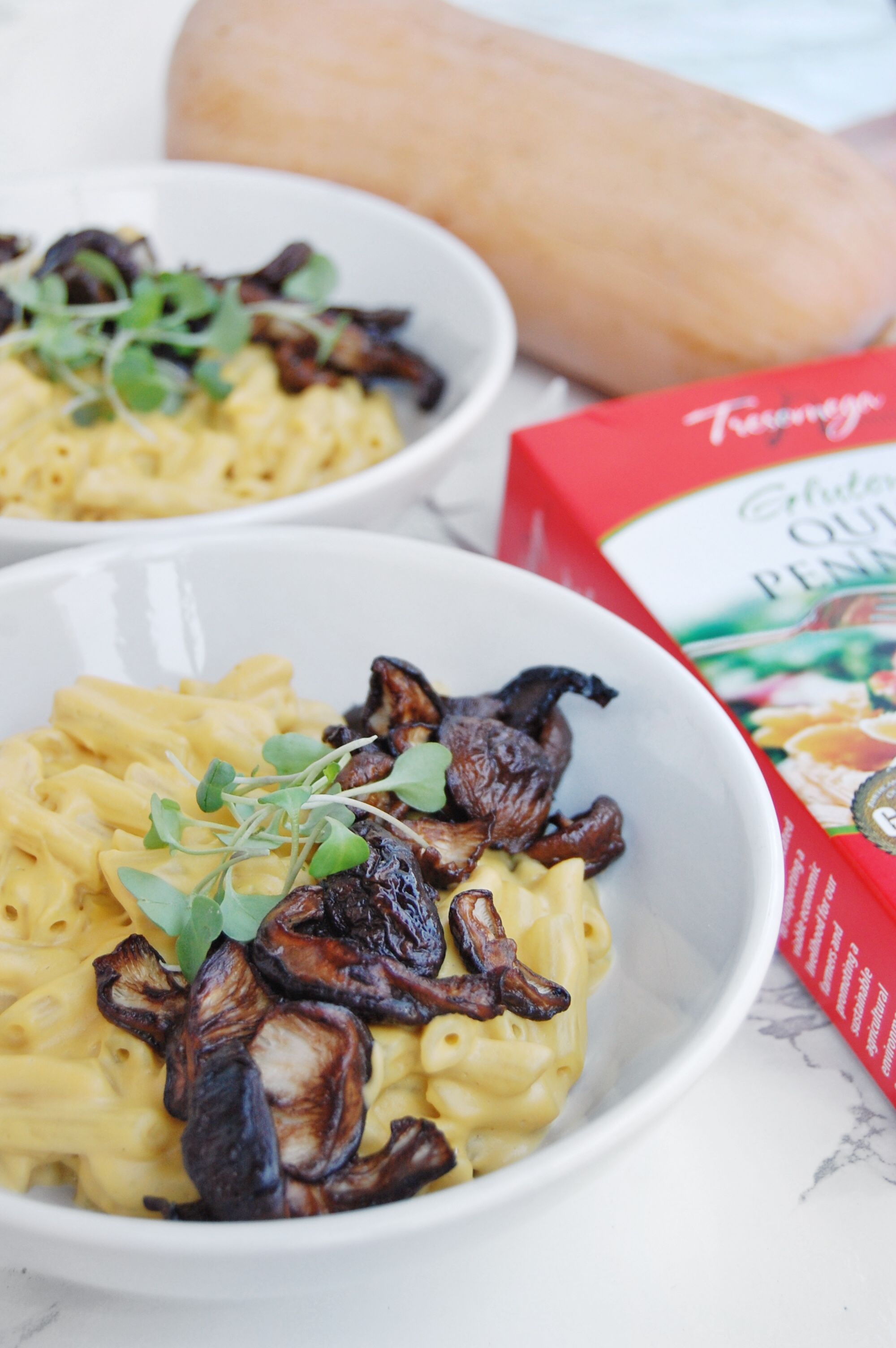 Creamy Butternut Squash Pasta with Balsamic Roasted Mushrooms | AreYouKitchenMe.com